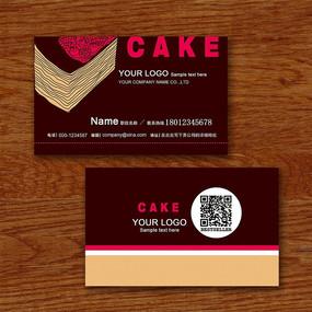 巧克力蛋糕二维码名片psd模板