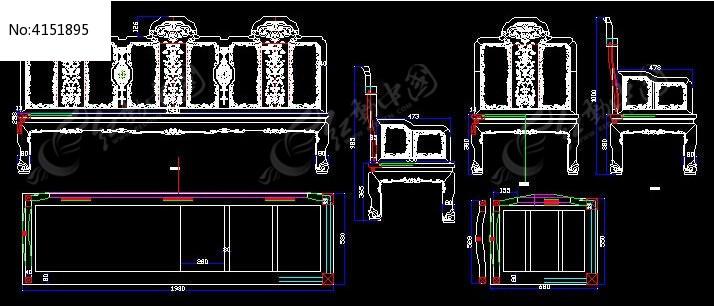 西番莲沙发cad生产图_cad图纸图片素材
