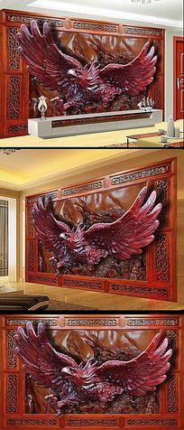 3D木雕大展宏图书房背景墙
