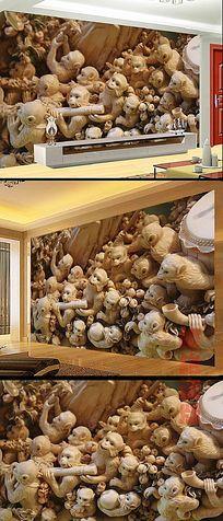 浮雕猴群酒店大堂背景墙 TIF