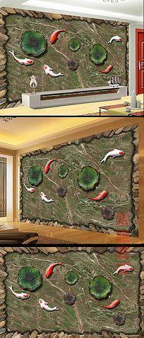 浮雕金鱼荷叶电视背景墙