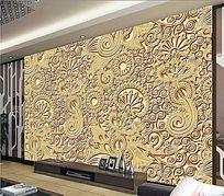复古花纹电视背景墙