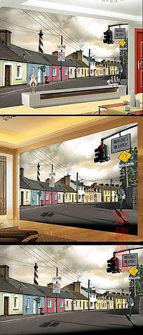 国外建筑风景室内背景墙