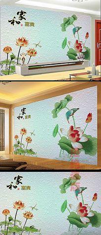 花朵荷花浮雕电视背景墙