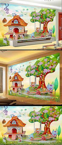 可爱儿童卧室背景墙