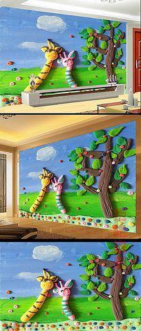 可爱儿童卧室背景墙模版