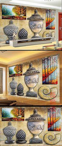 立体图形沙发背景墙