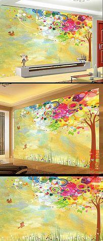手绘大树油画沙发背景墙