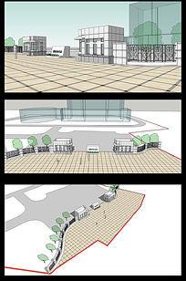现代风格的政府办公楼门卫3d模型
