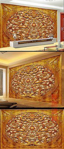 中式木雕龙纹书房背景墙