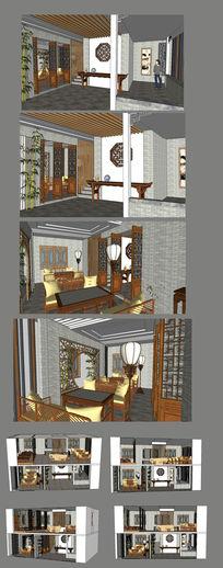 茶楼茶馆室内装修SU模型设计