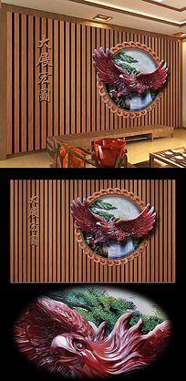 大展宏图雄鹰书房背景墙