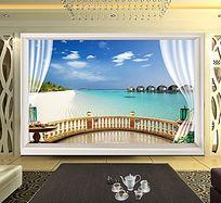 简约地中海卧室背景墙PSD素材