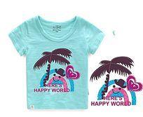 T恤印花矢量图 可爱彩虹童装印花