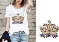 潮流女T恤皇冠烫画图案
