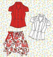 短袖衬衫矢量款式 裙子矢量图