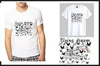 飞鸟图案个性t恤文化衫