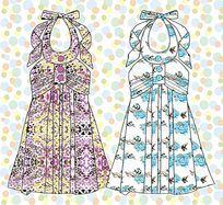 挂脖印花连衣裙设计手稿 时尚女装设计手稿