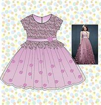 可爱蕾丝礼服裙矢量款式图