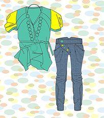 外贸牛仔裤设计手稿