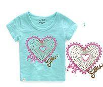 心形烫钻图案 女童T恤