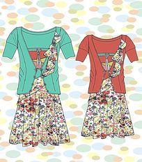 印花二件裙子设计图手稿