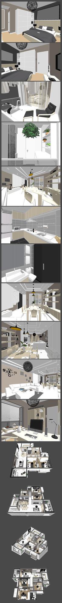 精品欧式室内装修设计SU模型