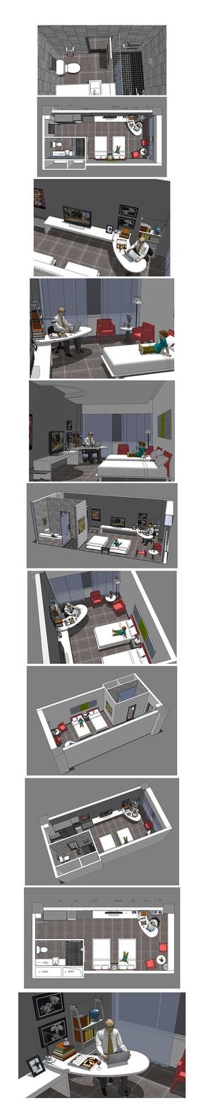 酒店房间的SU模型设计