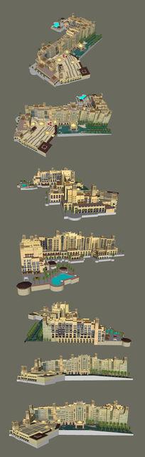 欧美风格度假酒店的SU模型设计