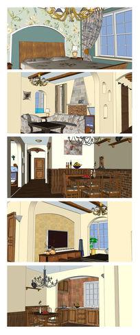 欧美风格田园室内SU模型设计
