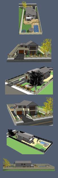 欧式别墅住宅院子的SU模型