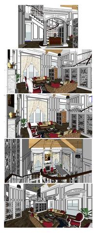 欧式风格别墅室内装修SU模型