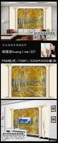 皮革3D枫树林油画电视背景墙