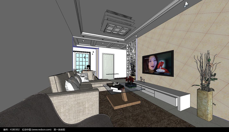 室内客厅的装修设计su模型