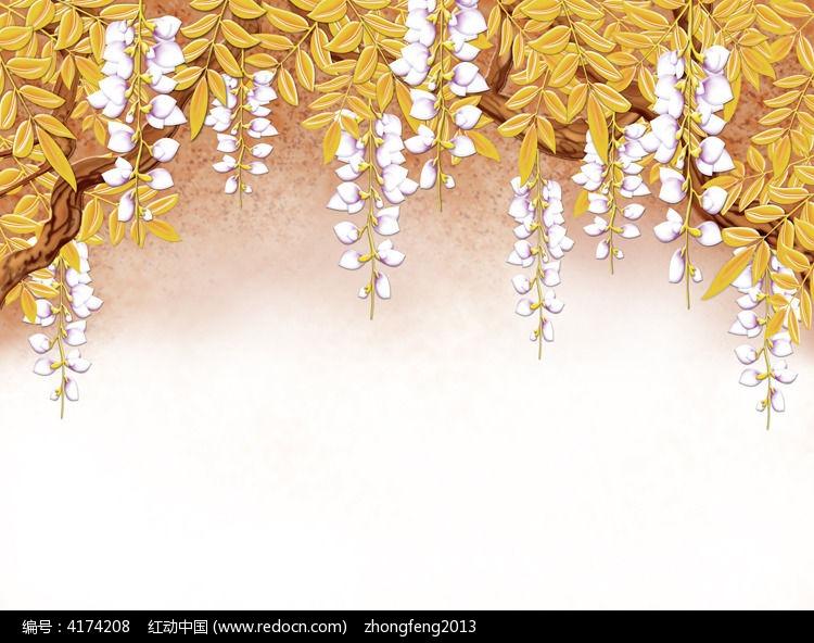 手绘杨柳电视背景墙