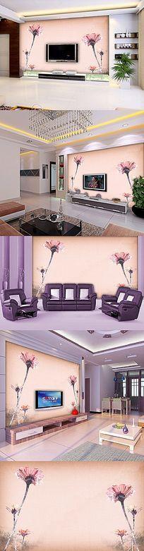 7款 植物花卉典雅电视客厅电视背景墙psd设计下载
