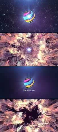 彩色烟雾爆炸logo演绎片头ae模板
