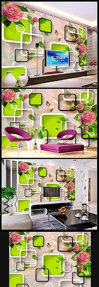 现代立体浮雕大理石玫瑰电视背景墙