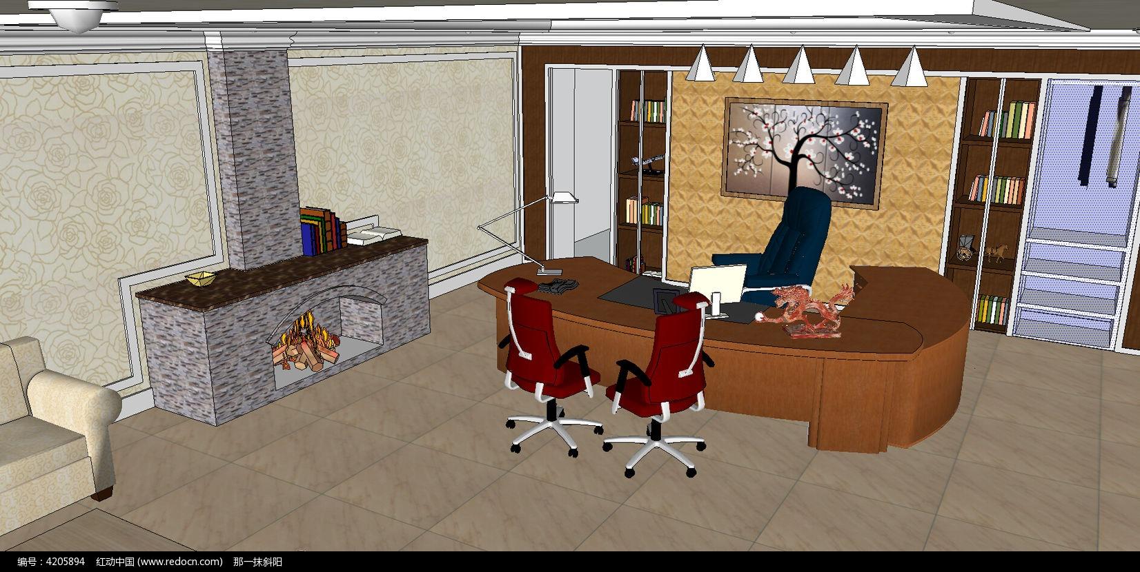 标签:办公室模型 办公室卧室模型 办公室室内设计 办公桌 欧式壁橱