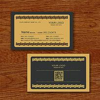 古典黄色花纹酒店名片设计