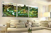 现代山水风景三联无框画