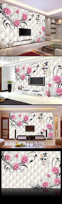 浪漫玫瑰3D软包电视背景墙