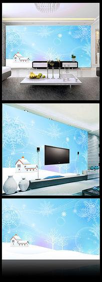 蓝色雪景卧室背景墙