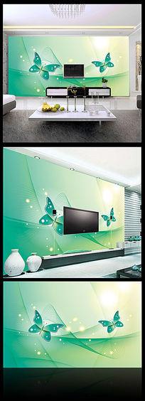 梦幻绿色蝴蝶卧室背景墙