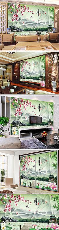 忆江南古典电视背景墙