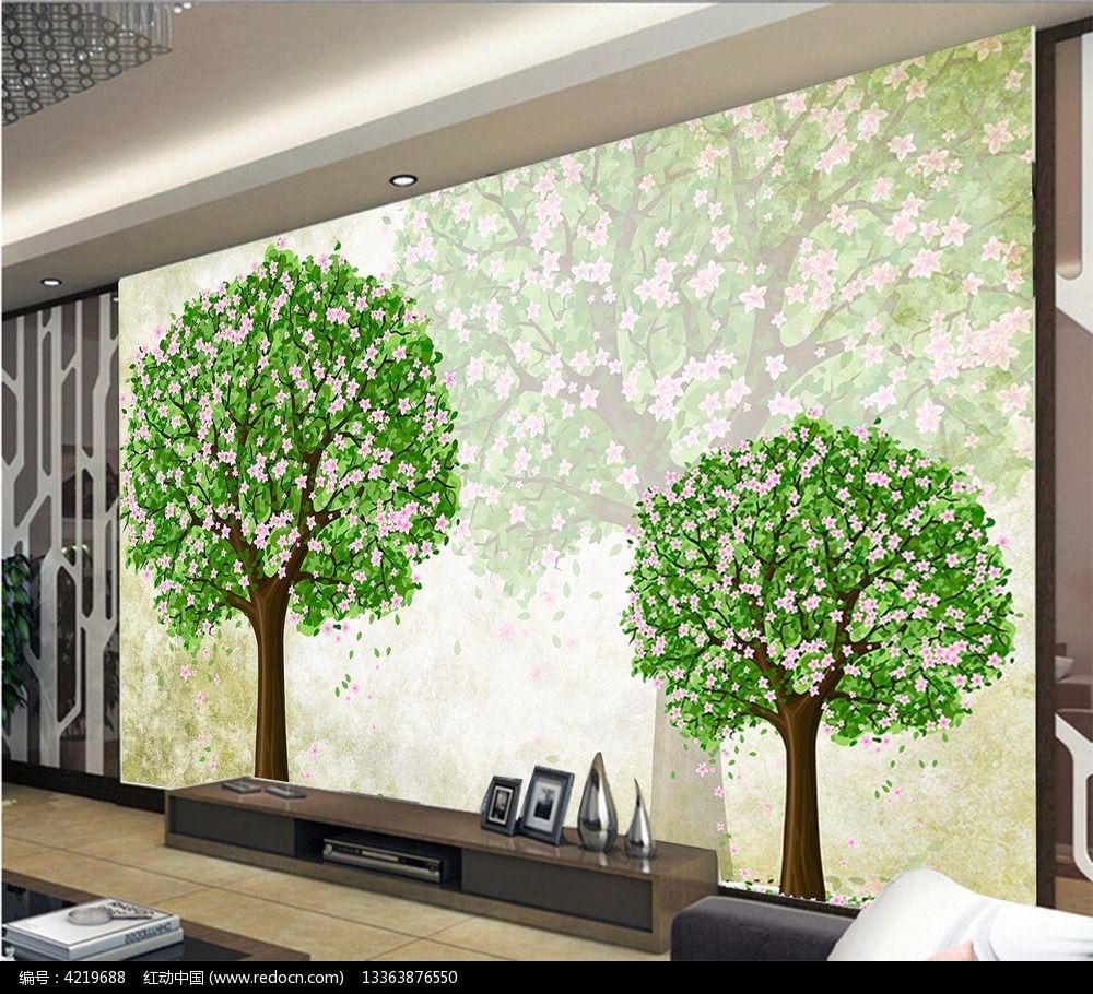 背景摇钱树电视高清墙环保袋创意设计图图片