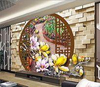 立体中式风格电视背景墙