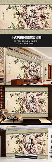 竹子水墨画中式书房背景墙