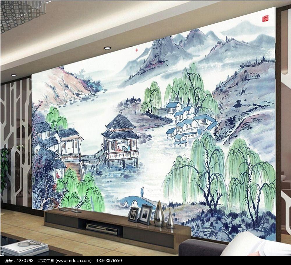 彩色手绘山水画电视背景墙图片图片