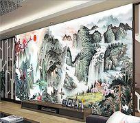 中式手绘山水画电视背景墙